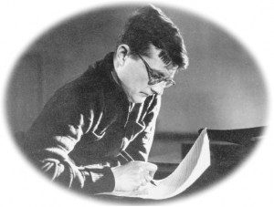 Shostakovich with pen composing