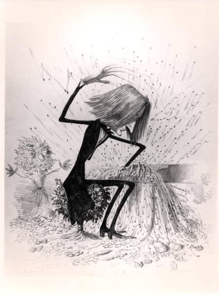Unsigned mid-19th century caricature of Liszt