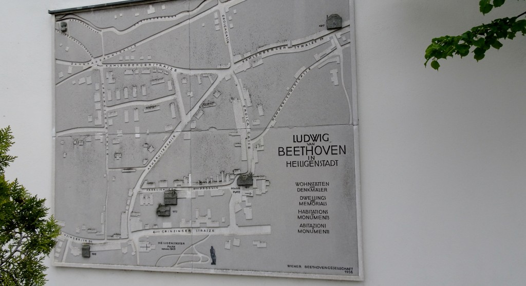 """Beethoven: Habitations and Monuments in Heiligenstadt"" . . . now a minor tourist industry in Heiligenstadt. This street map in the Pfarrplatz shows seven of them."
