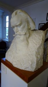 Marble bust of Brahms made in 1903 by the Austrian sculptor Ilse Conrat. She also created the gravestone for Brahms in the musician's quarter of the Central Cemetery in Vienna.