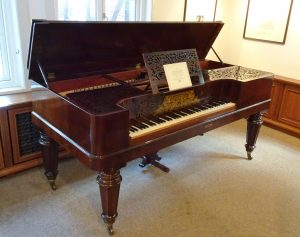 Square piano by Hamburg makers Baumgardten & Heins, manufactured in 1859. Brahms gave piano lessons in Hamburg using this instrument in 1861/2.