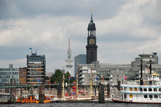 The rebuilt Michaeliskirche, Hamburg's largest church, was badly damaged in 1943 but continues to dominate today's Hamburg skyline C.P.E. Bach is buried in its crypt. He was city music director for Hamburg's five churches. Georg Phillip Telemann was his predecessor in the role.