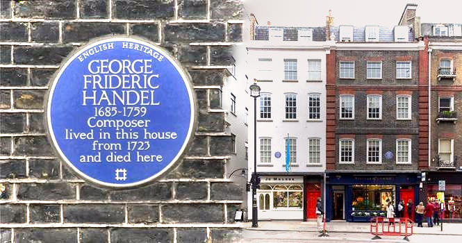 Plaque at 25 Brook St, Mayfair now home of the Handel House Museum, where Handel wrote Messiah, with today's Georgian period houses opposite