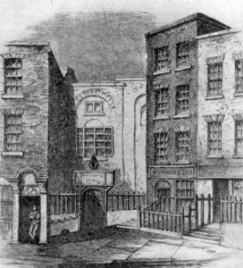 Neal's Music Hall (centre), Fishamble St. Dublin, where Handel's Messiah was first performed