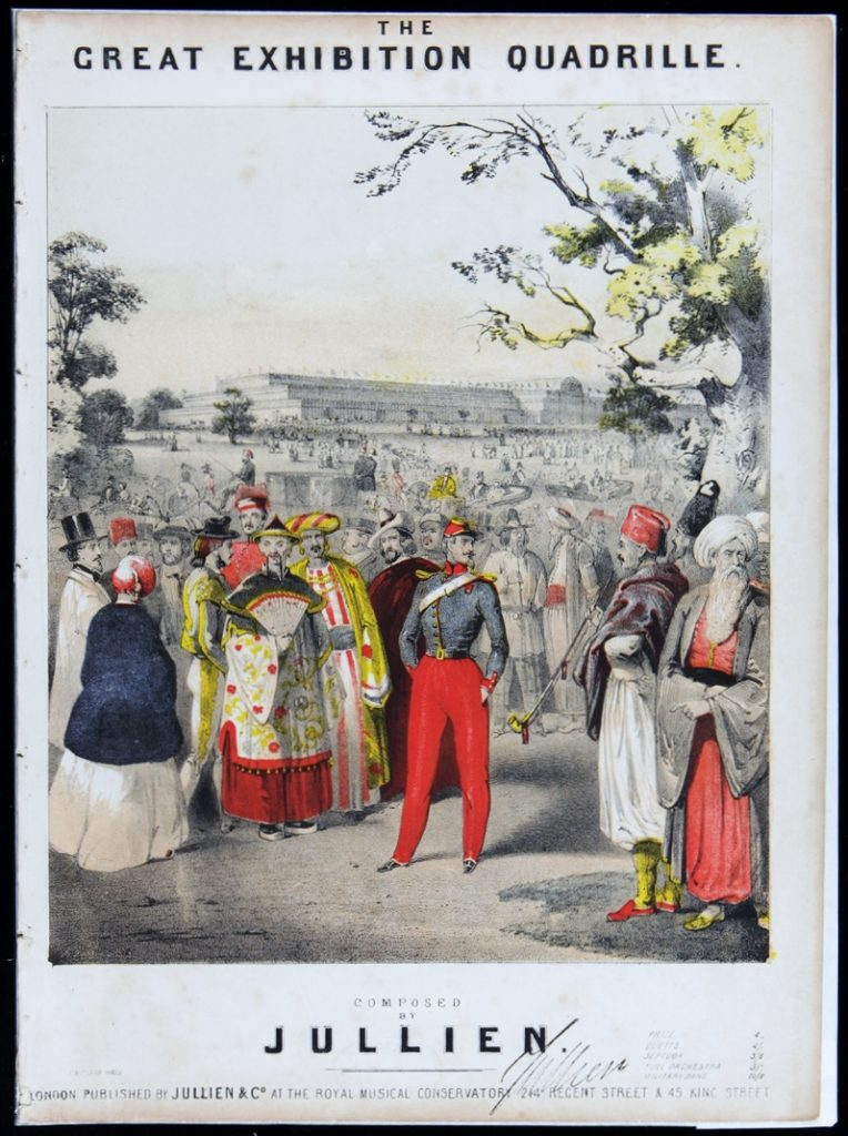 ullien's Great Exhibition Quadrille (1851), with the temporary Crystal Palace in London's Hyde Park on the horizon